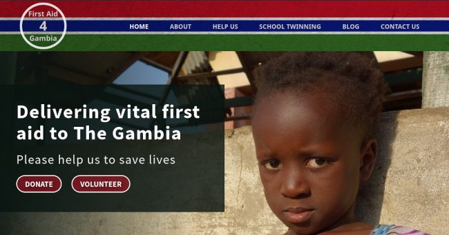 The new FirstAid4Gambia website homepage